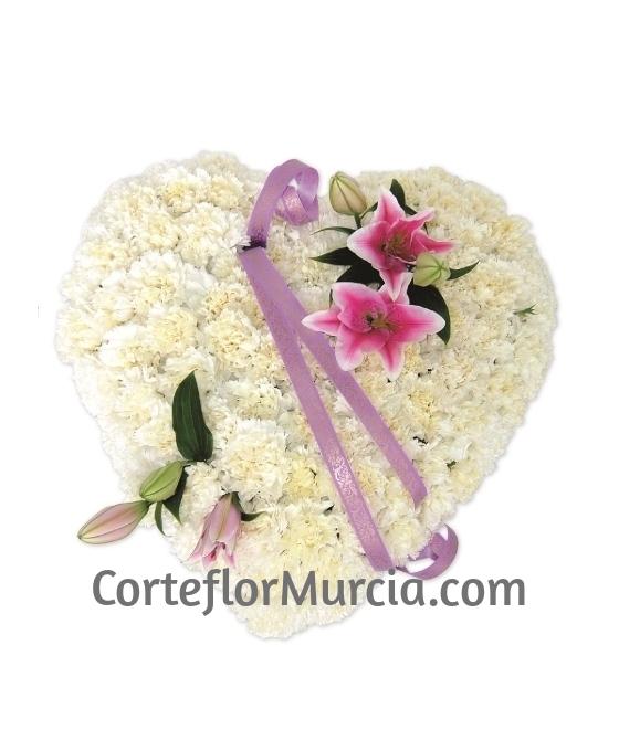 Corazón Funerario Clavel y Lilium
